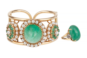 Emerald Diamond Gold Bracelet and Ring