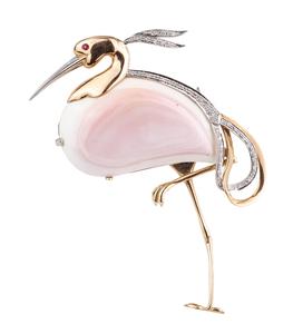 Diamond 14k Flamingo Brooch