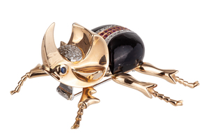 Diamond Sapphire Ruby 18k Beetle Brooch