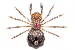 Diamond Enamel 18k Gold Spider Brooch