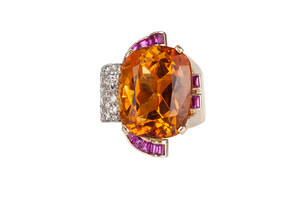 Citrine Ruby Diamond 14k Gold Ring