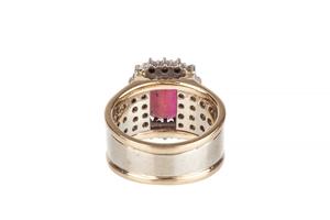 Rubellite Diamond 14k Ring