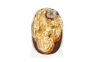Gold Nugget Diamond 14k RIng