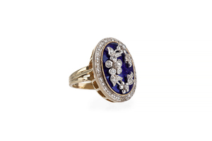Blue Guilloche 14k Ring