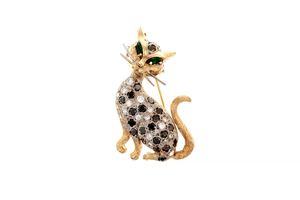 Diamond 14k Cat Brooch