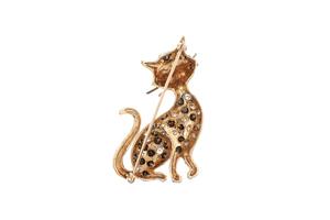 Diamond 14k Cat Brooch