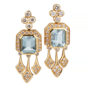 Aquamarine Diamond 22k Earrings