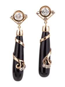 Onyx Diamond 18k Earrings