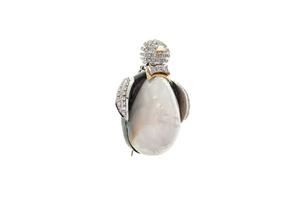 Diamond 18k Penguin Brooch