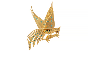 22k Turquoise Bird Brooch