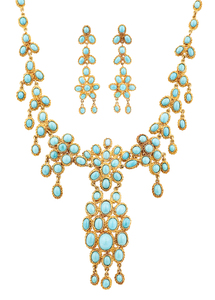 Turquoise 22k Necklace & Earrings