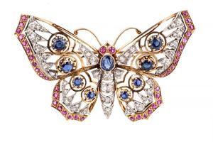 Diamond Sapphire Ruby 18k Butterfly Brooch
