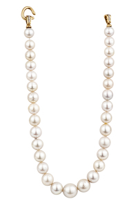 South Sea Strand of Pearls with Diamond Clasp