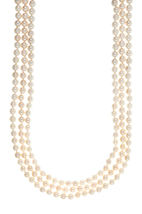 Triple Strand Saltwater Pearl Necklace