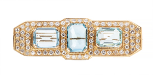 Aquamarine Diamond 14k Brooch