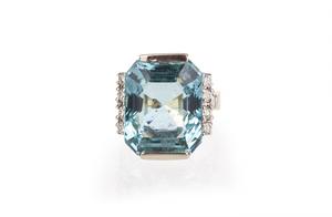 Aquamarine Diamond 14k Ring
