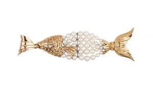18k Gold Fish Pendant/Brooch