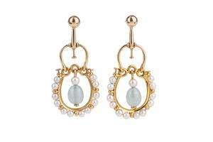Blue Chalcedony Pearl 14k Earrings