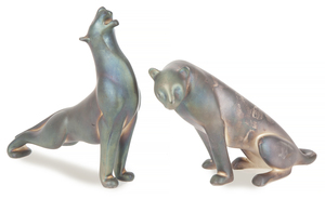 Two Loet Vanderveen (1921-2015) Silver Cheetah Sculptures, 98 ozt