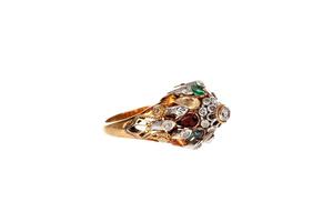 14k Gold and Diamond Princess Ring