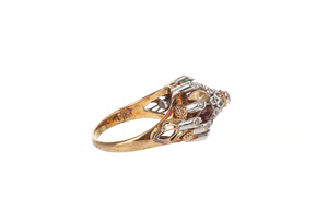 14k Gold and Diamond Princess Ring