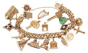 14k Gold Charm Bracelet, 97.87 grams
