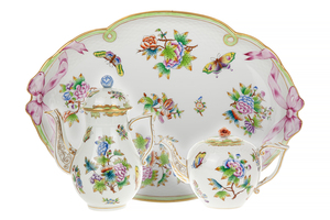 Herend Queen and Flowers Victoria Coffee, Tea and Tray
