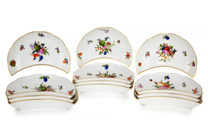 12 Herend Fruits and Flowers Crescent Salad Plates