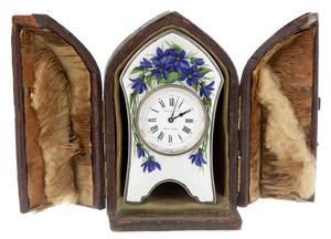 Cased Silver and Guilloche Travel Clock