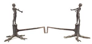 Pair of Bronze Figural Andirons, American 19th C.