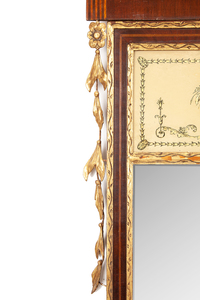 Federal Mahogany Inlaid and Parcel-Gilt Eglomise Mirror, New York, circa 1810