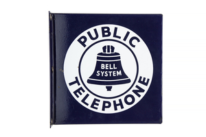 Old Bell Public Telephone Blue Enameled Wall Sign