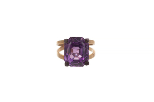 Synthetic Amethyst 12k Ring