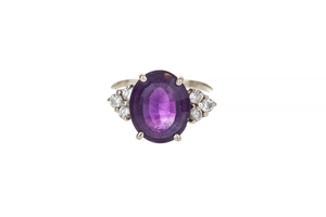 Amethyst and Diamond 14k Ring