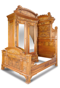 American Walnut Bed and Armoire, ca.1875-85