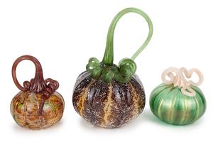 3 Art Glass Pumpkins