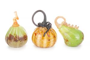 3 Art Glass Pumpkins/Gourds