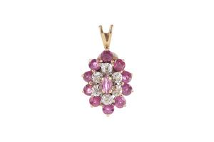 Pink Sapphire Diamond 14k Pendant