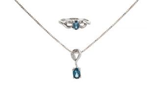 Blue Topaz Diamond 10k Ring & Necklace