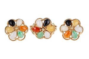 Multi Colored Jade Earrings & Ring