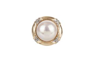 Mabe Pearl Diamond 14k Ring