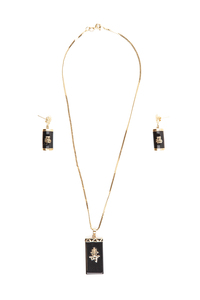 Black Jade 14k Earrings, Pendant & Chain