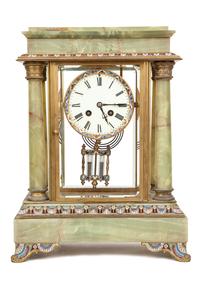 Green Onyx Champleve Enamel Clock