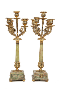 Pair of Green Onyx Candelabras