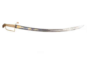 Eaglehead Officer's Saber Sword, with blue and gold blade