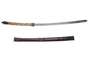 Burmese or Thai Silver mounted Dha Short Sword