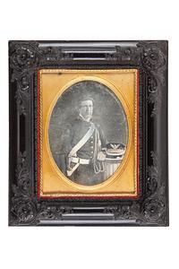 Mexican War Half Plate Daguerreotype of Soldier with Sword and Wheel Hat