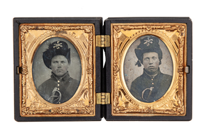 Double Cased tintypes of Armed Cavalrymen, 7th Cavalry, Troop C