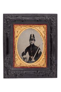 Artilleryman with 1832 Foot Artillery Sword in Shako, Framed Quarter Plate
