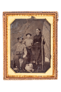 Union Family, Father with a Paterson Revolving Rifle or a Roper Revolving Rifle or Shotgun, Flag, Dog, Half Plate Tintype